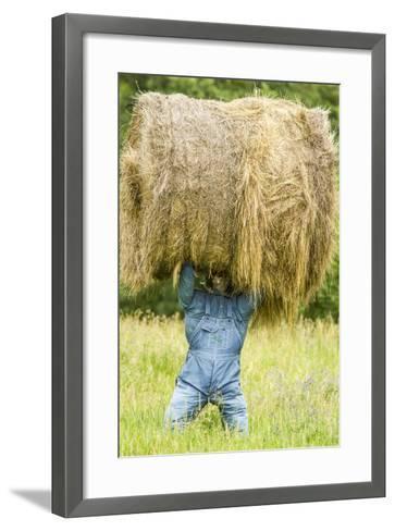 Creative Hay Bale Art Near Bottineau, North Dakota, USA-Chuck Haney-Framed Art Print