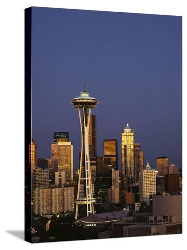 Space Needle at Dusk, Seattle, Washington, USA-Adam Jones-Stretched Canvas Print