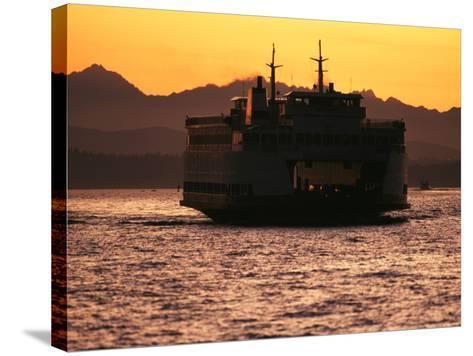 Ferry Boat at Sunset, Washington, USA-David Barnes-Stretched Canvas Print