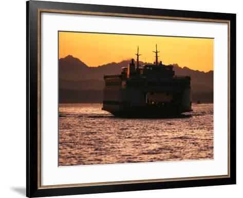 Ferry Boat at Sunset, Washington, USA-David Barnes-Framed Art Print