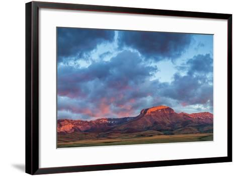 Fiery Sunrise Light, Ear Mountain, Rocky Mountain Front, Choteau, Montana, USA-Chuck Haney-Framed Art Print