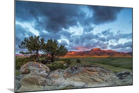Fiery Sunrise Light, Ear Mountain, Rocky Mountain Front, Choteau, Montana, USA-Chuck Haney-Mounted Photographic Print