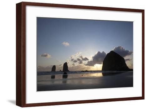 Haystack Rock at Sunset, Cannon Beach, Oregon, USA-Jamie & Judy Wild-Framed Art Print