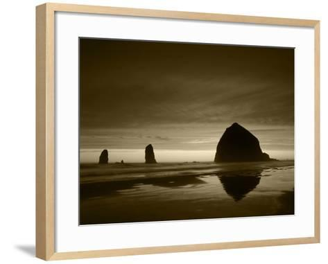 View of Haystack Rock on Cannon Beach at Sunset, Oregon, USA-Stuart Westmorland-Framed Art Print