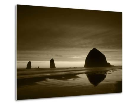 View of Haystack Rock on Cannon Beach at Sunset, Oregon, USA-Stuart Westmorland-Metal Print