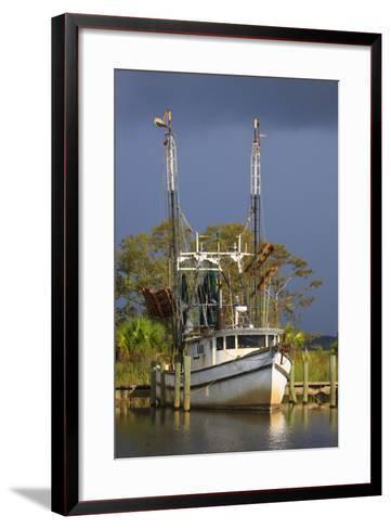 Shrimp Boat Docked at Harbor, Apalachicola, Florida, USA-Joanne Wells-Framed Art Print