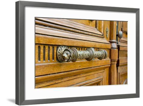 Wooden Doors of the Vail House Part of Russell Sage College, Troy, New York, USA-Cindy Miller Hopkins-Framed Art Print
