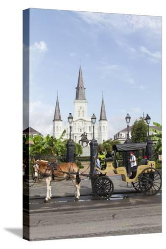 Statue, St. Louis Cathedral, Jackson Square, French Quarter, New Orleans, Louisiana, USA-Jamie & Judy Wild-Stretched Canvas Print