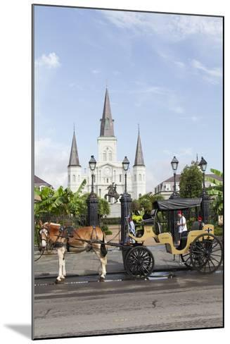 Statue, St. Louis Cathedral, Jackson Square, French Quarter, New Orleans, Louisiana, USA-Jamie & Judy Wild-Mounted Photographic Print