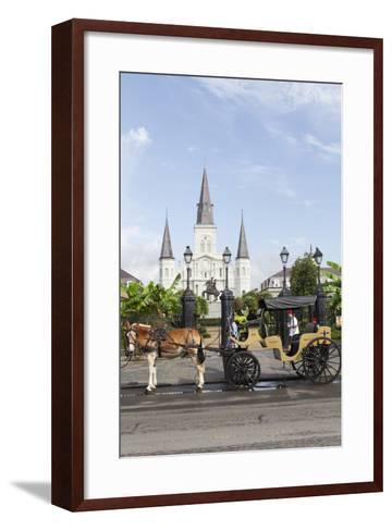 Statue, St. Louis Cathedral, Jackson Square, French Quarter, New Orleans, Louisiana, USA-Jamie & Judy Wild-Framed Art Print