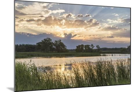 Sunrise over Backwater of the Milk River Near Glasgow, Montana, USA-Chuck Haney-Mounted Photographic Print