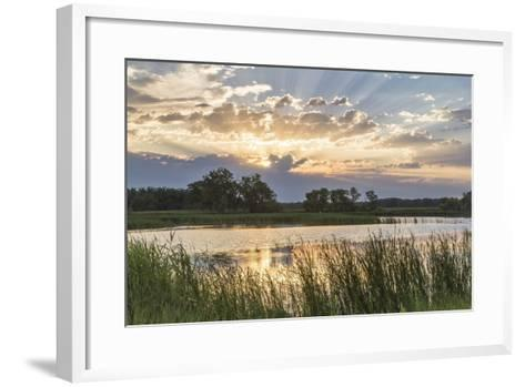 Sunrise over Backwater of the Milk River Near Glasgow, Montana, USA-Chuck Haney-Framed Art Print