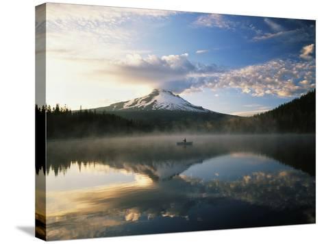 Fisherman, Trillium Lake, Mt Hood National Forest, Mt Hood Wilderness Area, Oregon, USA-Adam Jones-Stretched Canvas Print
