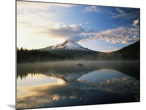 Fisherman, Trillium Lake, Mt Hood National Forest, Mt Hood Wilderness Area, Oregon, USA-Adam Jones-Mounted Photographic Print