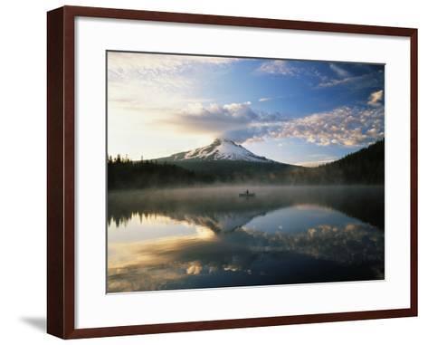 Fisherman, Trillium Lake, Mt Hood National Forest, Mt Hood Wilderness Area, Oregon, USA-Adam Jones-Framed Art Print