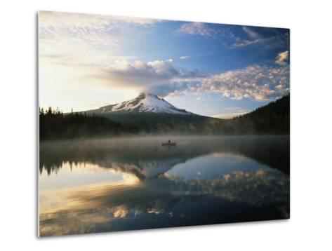 Fisherman, Trillium Lake, Mt Hood National Forest, Mt Hood Wilderness Area, Oregon, USA-Adam Jones-Metal Print