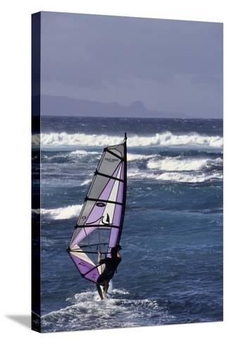 Windsurfing on the Ocean at Sunset, Maui, Hawaii, USA-Gerry Reynolds-Stretched Canvas Print