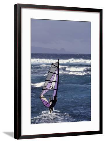 Windsurfing on the Ocean at Sunset, Maui, Hawaii, USA-Gerry Reynolds-Framed Art Print