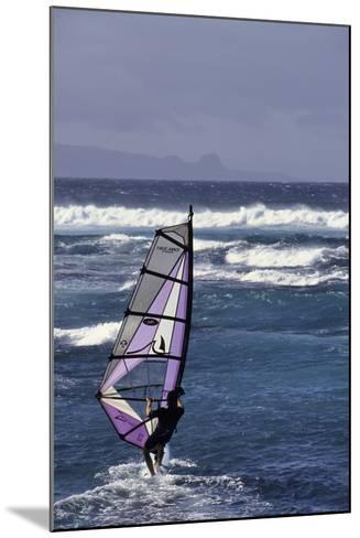 Windsurfing on the Ocean at Sunset, Maui, Hawaii, USA-Gerry Reynolds-Mounted Photographic Print