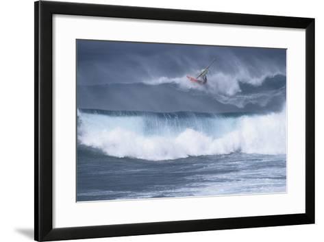 Windsurfing on the Ocean at Sunset, Maui, Hawaii, USA-Gerry Reynolds-Framed Art Print