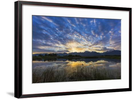 Pond Reflects the Mission Mountains, Ninepipe, Mission Valley, Montana, USA-Chuck Haney-Framed Art Print