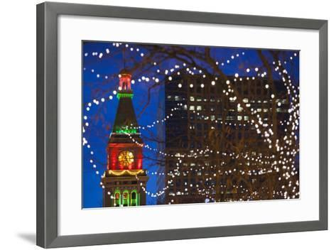 Daniels and Fisher Clock Tower with Christmas Lights, Denver, Colorado, USA-Walter Bibikow-Framed Art Print