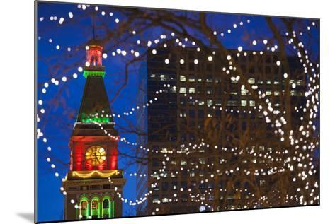 Daniels and Fisher Clock Tower with Christmas Lights, Denver, Colorado, USA-Walter Bibikow-Mounted Photographic Print