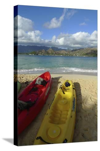 Kayak, Mokulua Island, Lanikai, Kailua, Oahu, Hawaii, USA-Douglas Peebles-Stretched Canvas Print