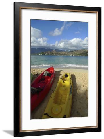 Kayak, Mokulua Island, Lanikai, Kailua, Oahu, Hawaii, USA-Douglas Peebles-Framed Art Print