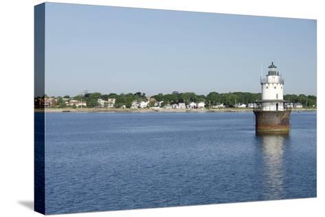 Butler Flats Light, Spark Plug Lighthouse at New Bedford Harbor, Massachusetts, USA-Cindy Miller Hopkins-Stretched Canvas Print