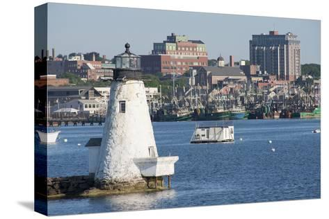 Fishing Boats, Palmer Island Lighthouse, New Bedford Harbor, Massachusetts, USA-Cindy Miller Hopkins-Stretched Canvas Print