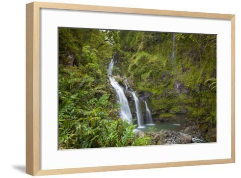 Waikani Waterfalls, Aka Three Bears, Hana Coast, Maui, Hawaii, USA-Douglas Peebles-Framed Art Print