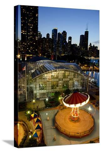 City Skyline Overview of Navy Pier at Sunset, Chicago, Illinois-Cindy Miller Hopkins-Stretched Canvas Print