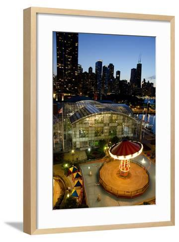 City Skyline Overview of Navy Pier at Sunset, Chicago, Illinois-Cindy Miller Hopkins-Framed Art Print