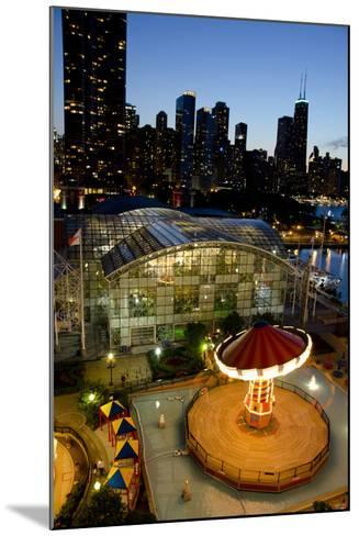 City Skyline Overview of Navy Pier at Sunset, Chicago, Illinois-Cindy Miller Hopkins-Mounted Photographic Print