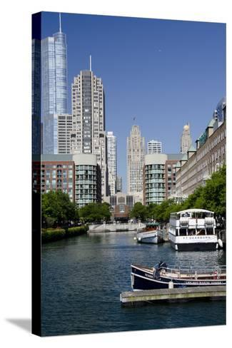 Canal View of the Chicago's Magnificent Mile City Skyline, Chicago, Illinois-Cindy Miller Hopkins-Stretched Canvas Print