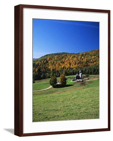View of Silo and Autumn Landscape, Northeast Kingdom, Vermont, USA-Walter Bibikow-Framed Art Print
