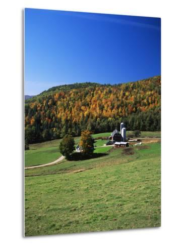 View of Silo and Autumn Landscape, Northeast Kingdom, Vermont, USA-Walter Bibikow-Metal Print