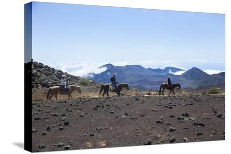 Horseback Trail Ride, Haleakala National Park, Maui, Hawaii, USA-Douglas Peebles-Stretched Canvas Print