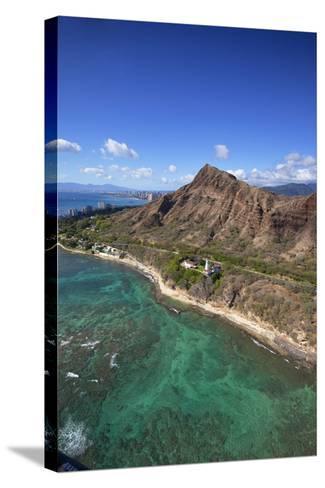 Aerial View of Lighthouse, Diamond Head, Waikiki, Oahu, Hawaii, USA-Douglas Peebles-Stretched Canvas Print