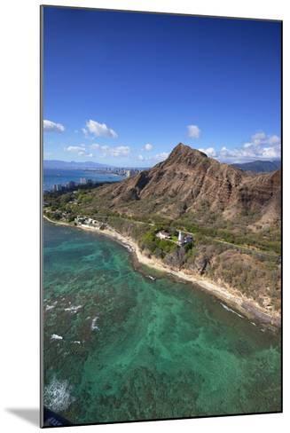 Aerial View of Lighthouse, Diamond Head, Waikiki, Oahu, Hawaii, USA-Douglas Peebles-Mounted Photographic Print