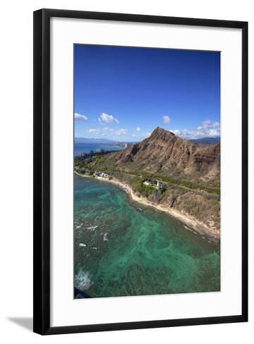 Aerial View of Lighthouse, Diamond Head, Waikiki, Oahu, Hawaii, USA-Douglas Peebles-Framed Art Print