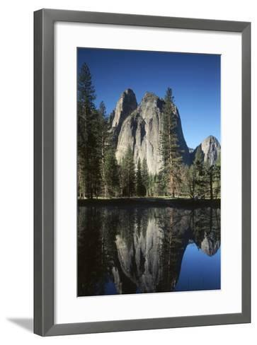 View of Valley's Sheer Rock with Pond, Yosemite National Park, California, USA-Paul Souders-Framed Art Print