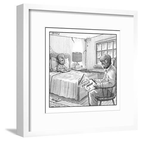 "A werewolf father is reading his werewolf son ""Hello Moon""  - New Yorker Cartoon-Harry Bliss-Framed Art Print"