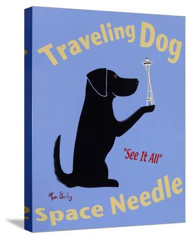 Traveling Dog, Space Needle-Ken Bailey-Stretched Canvas Print