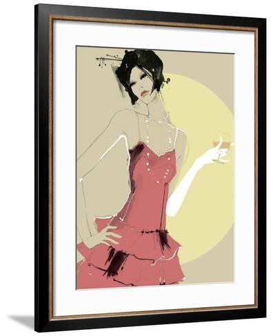 Lady in Red-Ashley David-Framed Art Print