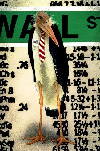 Stork Broker-Will Bullas-Stretched Canvas Print