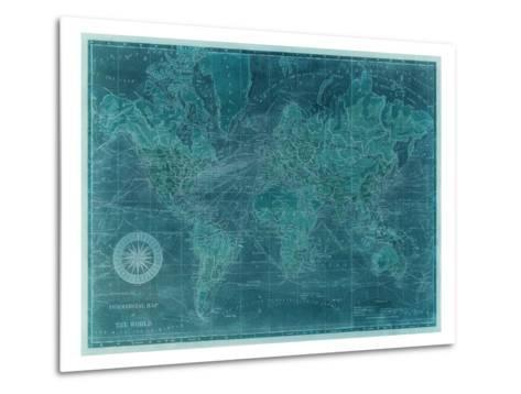 Azure World Map-Vision Studio-Metal Print
