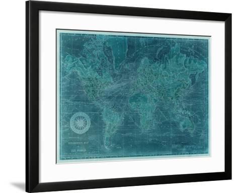 Azure World Map-Vision Studio-Framed Art Print