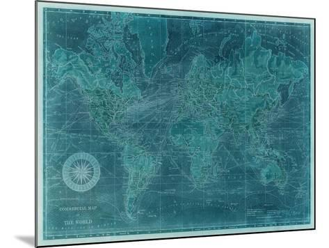 Azure World Map-Vision Studio-Mounted Art Print